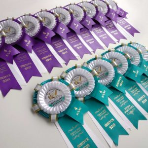 Именные розетки (медали) из атласных лент для выпускников начальной школы и педагогов.